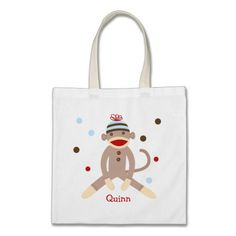 Sock Monkey Canvas Personalized Tote bag kids
