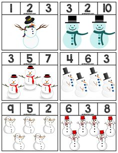 18 Clip cards featuring snowmen characters to help teach numbers Super easy prep! Winter Activities For Toddlers, Preschool Activities, Preschool Prep, Preschool Winter, Teaching Numbers, Numbers Kindergarten, Preschool Printables, Kindergarten Worksheets, Body Preschool