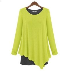Women's Cotton Layered Long Sleeve Top