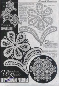 Lace irish Crochet Flower with Leaves Irish Crochet Patterns, Crochet Motifs, Freeform Crochet, Crochet Diagram, Lace Patterns, Thread Crochet, Knit Or Crochet, Filet Crochet, Crochet Designs