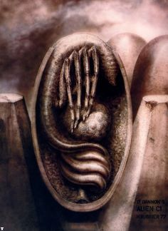 """The Original """"Alien"""" Concept Art Is Terrifying H.R. Giger's original drawings for Alien are even more chilling than the final film. Hr Giger Alien, Hr Giger Art, Alien Film, Alien Art, Xenomorph, Chur, Concept Art Alien, Alien Queen, Arte Cyberpunk"""