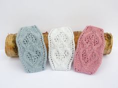 Hand Knitted Lacy Hearts Sparkly Cotton Baby's Headband