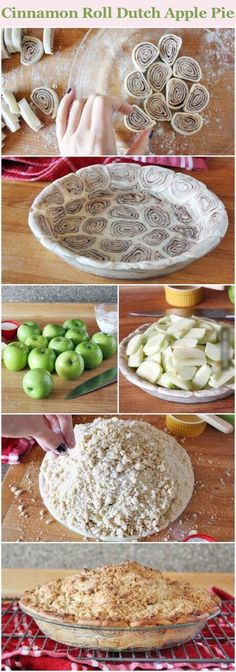 Cinnamon Roll Dutch Apple Pie Recipe delicious baking recipe pie recipes apple pie dessert recipe dessert recipes food tutorials food tutorial pie recipes