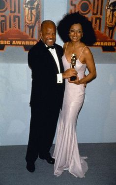 Berry Gordy  Diana Ross a music awards event.