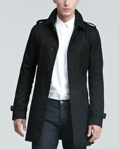 Burberry London Single-Breasted Poly-Cotton Trenchcoat, Black - Neiman Marcus
