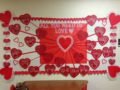 Great Valentine's Day Board idea - I would add little red or white hearts on top of the doily heart with a writing prompt.
