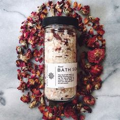 Floral Bath Soak by @WHOLEAPOTHECARY. made with mineral rich salts, coconut milk, and rose petals // wholeapothecary.com