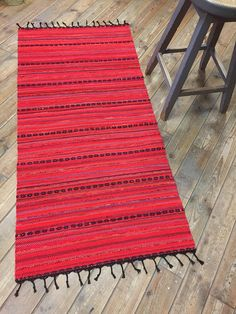 Your place to buy and sell all things handmade Jute Rug, Woven Rug, Different Shades Of Red, Red Floor, Floor Runners, Black Carpet, Cotton Bedding, Tapestry Weaving, Recycled Fabric