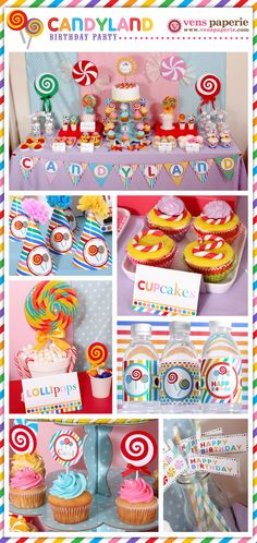 lollipop party candyland DIY decoration with lots of cut out candy (www.venspaperie.com)