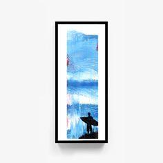 "Printable Original Watercolor Artwork, ""Mavericks"", Digital Print, Abstract Wall Art, Surfer Painting, Surf Decor, Digital Download by RobertWenteArtworks on Etsy"