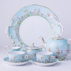 china tea Herend fine china Tea Set for 2 Persons Herend Four Seasons QS pattern. The Tea Set contains the ing porcelain items: 1 pc Tea Pot with Twisted Knob vol liter OZ) QS 1 pc Sugar Basin with Twisted Knob vol dl OZ) QS 1 pc Creamer vol dl OZ) QS