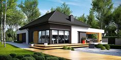 Find home projects from professionals for ideas & inspiration. Projekt domu HomeKONCEPT 27 by HomeKONCEPT Contemporary House Plans, Modern House Plans, Small House Plans, Modern House Design, Bungalow House Plans, Modern Bungalow, One Storey House, Architect House, Prefab Homes