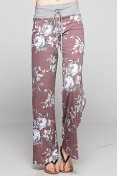 Floral Lounge Pant A french terry floral print wide casual pants with waist band Comfy Pants, Lounge Pants, Lounge Wear, Casual Pants, Pyjamas, Floral Pants, Look Chic, Slip, The Dress