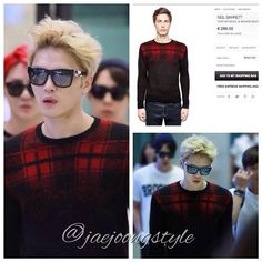 JJ's #airportfashion was a @NeilBarrett tartan #wool & #mohair blend #sweater at Incheon Airport arriving to Seoul from Chengdu (140907). Price: €295,00. Credit: sihyun and J12150126 for #Jaejoong's photos and luisaviaroma for #fashion details. #KimJaejoong #mensfashion #김재중 #handsome #Korean #celebrity