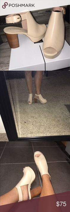Topshop Nude heels Nude leather heels from Topshop! Never been worn!!! Tags still on bottom of shoe! 3.5 inch heel. Topshop Shoes Heels
