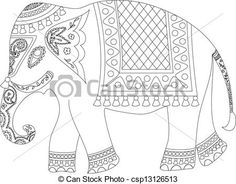 Vector - Indian elephant - stock illustration, royalty free illustrations, stock clip art icon, stock clipart icons, logo, line art, EPS picture, pictures, graphic, graphics, drawing, drawings, vector image, artwork, EPS vector art