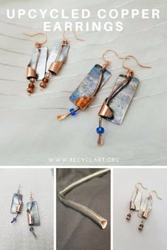 From under sink to under ear. who knew these little pieces of pipe could grow up to be artisan earrings! When heated just right, chrome will turn the loveliest shades of blue. A perfect complement for copper in these handcrafted mixed metal earrings. Recycled Jewelry, Copper Earrings, Designer Earrings, Shades Of Blue, Earrings Handmade, Upcycle, Chrome, Artisan, Jewelry Making