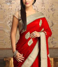 Akshra red worked georgette actress saree with blouse other-actress-saree online - #valentine #Red #Gift http://bit.ly/1SXEhWq