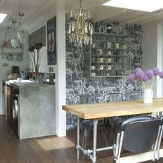 Industrial style kitchen and dining room