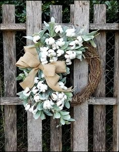 Lambs Ear Cotton Wreath ~ Farmhouse Grapevine Wreath ~ Fall Wreaths for Front Door ~ Winter Door Hanger Front Door Decor, Wreaths For Front Door, Front Porch, Side Porch, Southern Charm Decor, Country Decor, Rustic Decor, Grapevine Wreath, Burlap Wreath