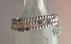 Wrap style, pewter with SS overlay beads, Preciosa crystals & charm.