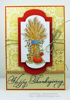 A Kept Life: Used Serendipity Stamps Wheat Sheaf rubber stamp to create her Thanksgiving Dinner Invitation