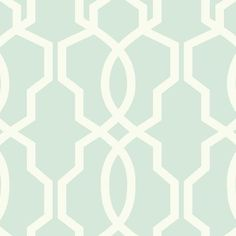 Hourglass Trellis Wallpaper in Aqua and Ivory design by York Wallcoverings