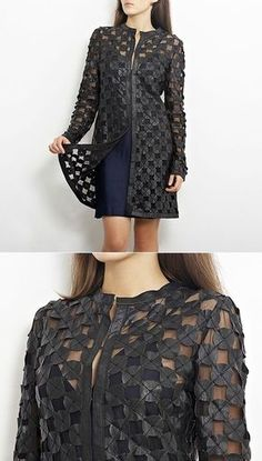 Two ideas of the use of skin pieces // Оля. Fashion Moda, Womens Fashion, Lace Mini Skirts, Leder Outfits, Plus Size Maxi, Lace Jacket, Dress Tutorials, T Shirt Diy, Lace Tops