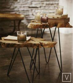 Albion Wood Burl Slice Tables