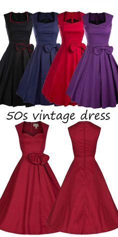 92f6393fd7103e 50s vintage dresses, swing dresses, party dresses with bow, retro dresses  @veenrol
