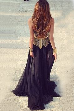 Elegant Strapless Black Long Chiffon Prom/Evening Dress With Lace Appliques
