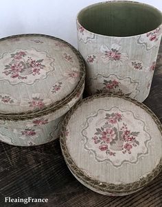 Matching fabric boxes in lovely floral fabric with baskets of roses on a soft green and cream background. Each box is in the same style and lids are finished with beautifully tarnished golden metal galon trim. Fabric Covered Boxes, Fabric Boxes, Dozen, French Fabric, Old Boxes, Mad Hatters, Floral Fabric, Decorative Boxes, Heaven
