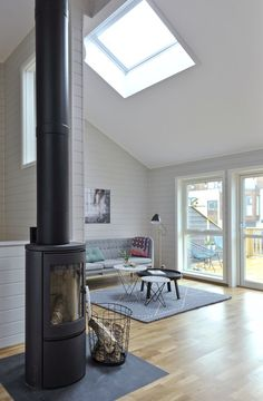 Nice bright scandi home with lots of windows and natural light. Attic Conversion Bedroom, Bungalow Conversion, Bohinj, Scandi Home, Lots Of Windows, Roof Window, Bright Homes, Loft House, Log Burner