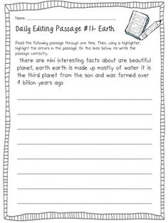 Daily Sentence/Paragraph Editing- Set 1