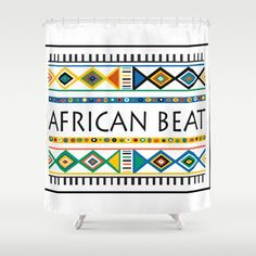 SHOWER CURTAIN 71″ BY 74″  African beat by Mike Lett