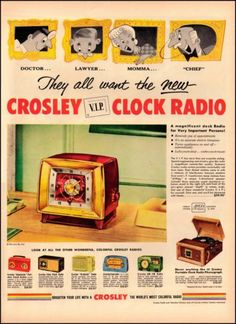 Antique Vintage 1955 Crosley Clock Radio Ad Advertisement El Dorado 1950s