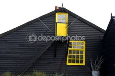 Black house — Stock Image #3816744 Yellow Doors, Wooden House, Photo Black, Black House, Shed, Gardens, Exterior, Outdoor Structures, Cabin