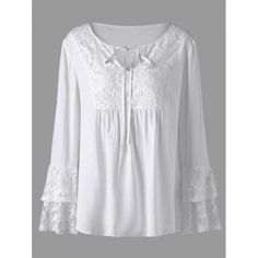 RoseWholesale - Rosewholesale Plus Size Lace Trim Layered Sleeve Blouse - AdoreWe.com