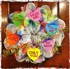 Sweethearts Valentines Day Mesh Wreath.