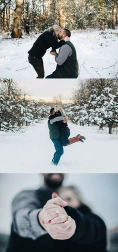 Love this proposal in the snow. After she said yes, both of their families came out to celebrate!