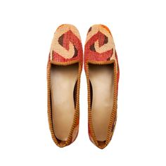 KILIM SHOES size 38 | NOMADA  Our kilims are all hand made and one of a kind. They are from 1930s-1950s. They were produced by Anatolian women to be used in their houses. Each shoe is handmade, crafted from vintage hand-woven Turkish kilims, and finished with a durable leather sole and rubber heel. Our pairs of loafers is a one-of-a-kind. It is literally impossible to create two identical pairs of shoes, so they competely unique, never to be exactly reproduced.