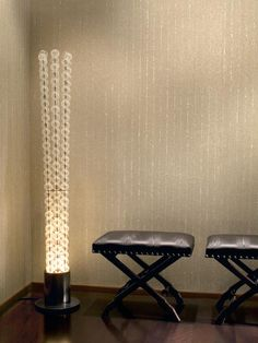 Add subtle shine with glass beading wallpaper.