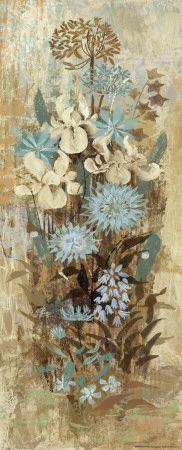 blue browns flowers art print