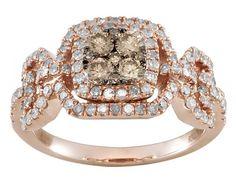 1.03ctw Round Champagne And White Diamond 10k Rose Gold Ring $399 JTV- Love this set!