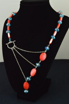 Coral Shell and Sky Blue Crystal Adrienne Adelle Signature Necklace on Etsy,