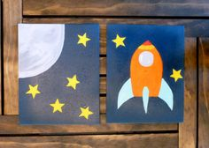 FREE SHIPPING Rocket Wall Art Set, Painted Wall Art, Acrylic Paintings 8x10 Wrapped Canvas Space Nursery Art Solar System Room Boys Room Art by ABStudio62 on Etsy https://www.etsy.com/listing/275426068/free-shipping-rocket-wall-art-set