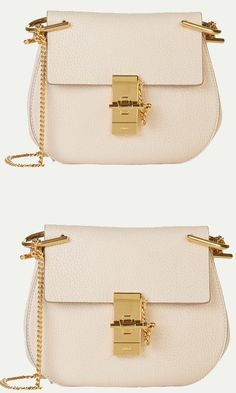 Chloe Abstract White grained leather mini Drew shoulder bag.