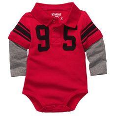 Layered-Look Varsity Polo Bodysuit Oshkosh Baby, Layered Look, Onesies, Baby Boy, Bodysuit, Polo, Kids, Crafts, Clothes