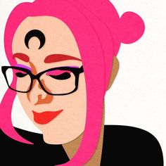 Textured paper cut style. #pinkhair #sailormoon #cute #illustration #illustrator #portrait #artist #artwork #paper #paperart #glasses #etsy #behance #reddit #redditgetsdrawn #adobe #adobeillustrator #lady #ladyart #ladyartists