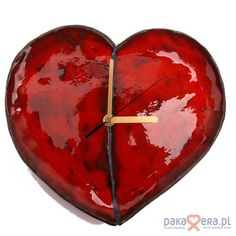 red heart ceramic clock